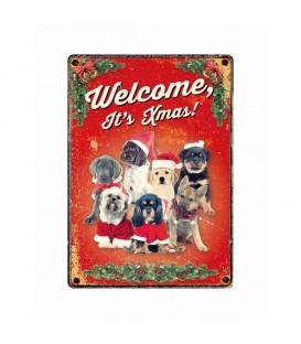 """Plaque vintage en métal """"Welcome it's Christmas"""" (chiens)"""