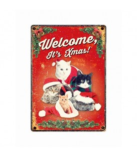 """Plaque vintage en métal """"Welcome it's Christmas"""" (chats)"""