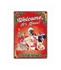 """Plaque vintage en métal """"Welcome it's Christmas"""" (tous les animaux)"""