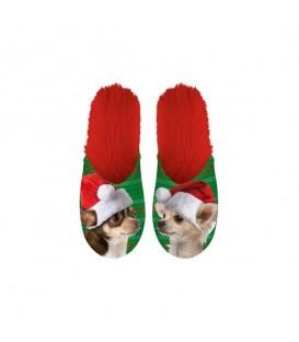 Paire de pantoufles motif Chats de Noël. Taille 34/37