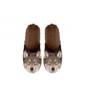 Paire de pantoufles motif loups. Taille 39/42