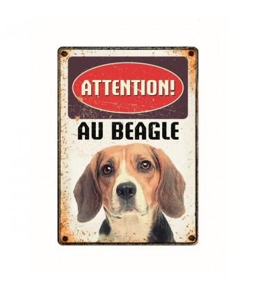 """Plaque vintage en métal """"Attention au beagle"""""""