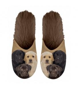 Paire de pantoufles motif Chiots Labrador. Taille 35/38