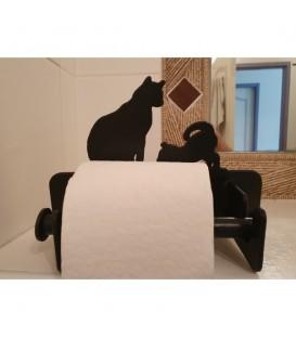 Porte-papier toilette décoré d'une silhouette de chat